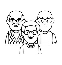 Cute grandfathers avatars characters vector