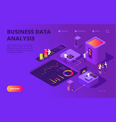 data analysis isometric concept people work on vector image