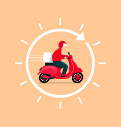delivery man ride scooter delivery 24 hours vector image