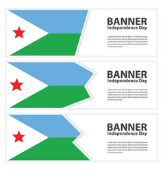 Djibouti flag banners collection independence day vector