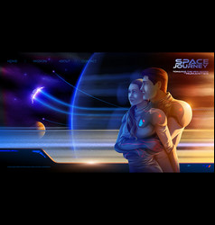 Embracing couple inside colony spaceship vector