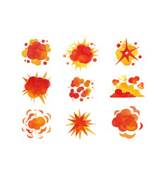explosions set fire explosion effect watercolor vector image