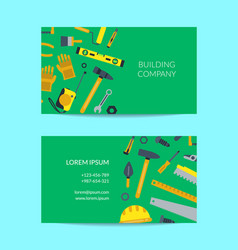 Flat construction tools business card vector