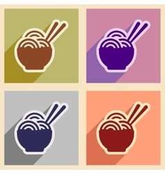 Flat with shadow concept Japanese noodles stylish vector