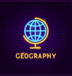 geography neon label vector image