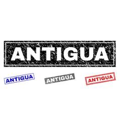 grunge antigua textured rectangle stamp seals vector image