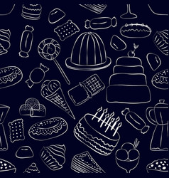hand drawn sweets seamless pattern on dark vector image