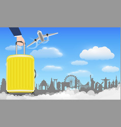 Hand with luggage bag travel around world vector