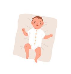 happy newborn baby in bodysuit top view vector image