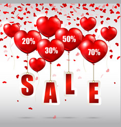 heart shaped balloons with sale advertisement vector image