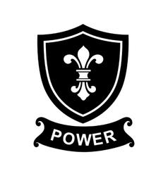 Heraldic liliy france on a shield icon vector