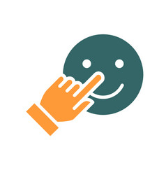 Human chooses a happy emoji colored icon share vector