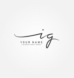 Initial letter ig logo - hand drawn signature logo vector
