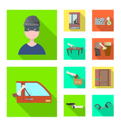 Isolated object crime and steal icon set of vector