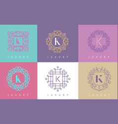 k letter pastel floral monogram lines logo design vector image