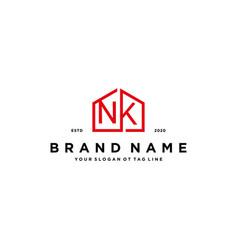 Letter nk home logo design concept vector