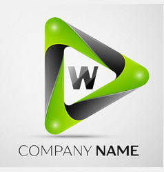 Letter w logo symbol in the colorful triangle on vector