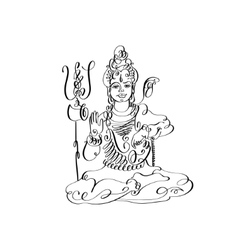 line art Lord Shiva black and white calligraphic vector image