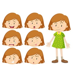 Little girl with many facial expressions vector image