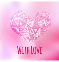 Love triangular heart card vector