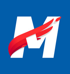 M letter logo with fast speed red bird wing vector