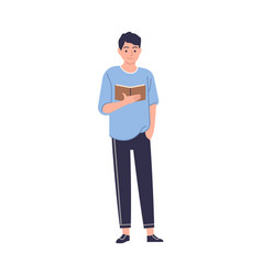 man reading book smart male reader stand vector image