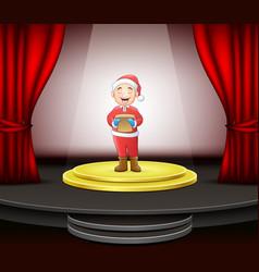 Man singing christmas carols standing on circle mo vector