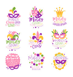 mardi gras carnival logo original design set hand vector image