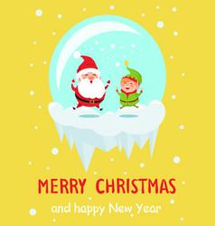 merry christmas happy new year poster santa elf vector image