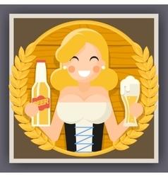 Oktoberfest Poster Girl With Beer Festival vector image
