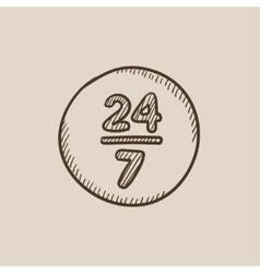 Open 24 hours and 7 days in wheek sign sketch icon vector