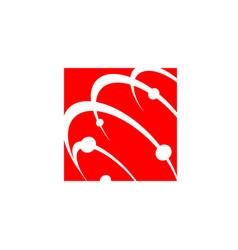 orbit planet technology logo design satellite web vector image
