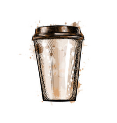 paper coffee cup from a splash watercolor vector image