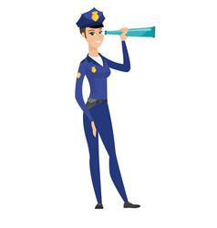 police officer monitoring safety with spyglass vector image