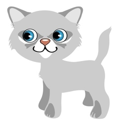 Pretty gray kitten with blue eyes cartoon pet vector image