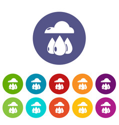 rain weather icons set color vector image