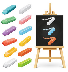 Realistic school chalkboard easel and color chalks vector