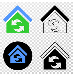refresh house eps icon with contour version vector image