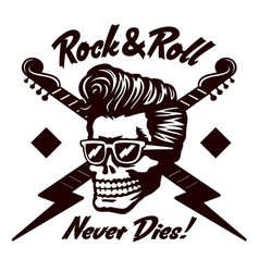 rock n roll skull with rockabilly hairstyle vector image