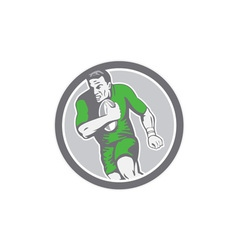 Rugby Player Running Ball Circle Retro vector image