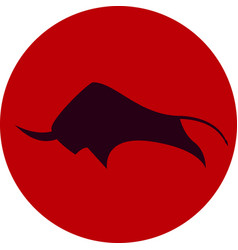 Savage bull icon red black vector