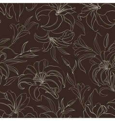 Seamless pattern with blooming lilies vector