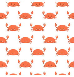 Seamless pattern with cute cartoon crabs on white vector