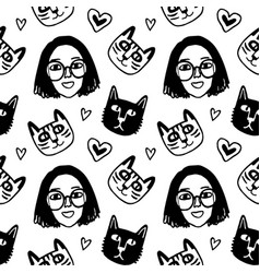 seamless pattern with cute girl face and cats vector image