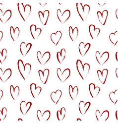 Seamless pattern with red hearts drawn brush vector