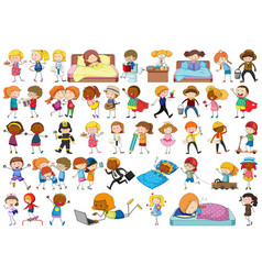 set doodle character vector image