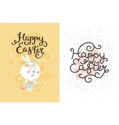 set easter cards with bunny egg vector image