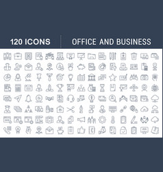 set flat line icons office and business vector image