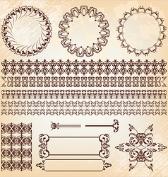 set of abstract baroque pattern vector image