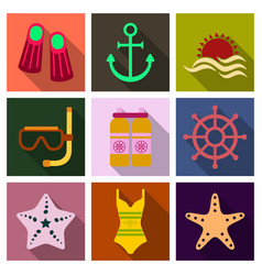 Set of cute summer icons bright summertime poster vector